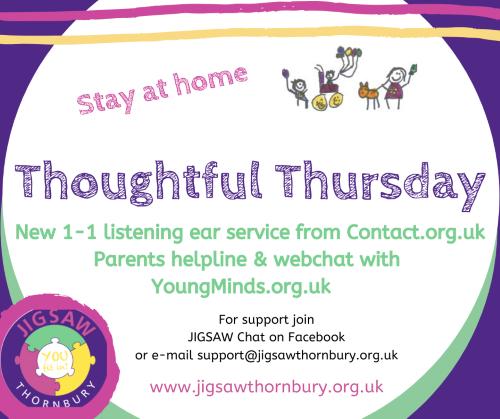 Virtual JIGSAW Thoughtful Thursday – Parent Support helplines