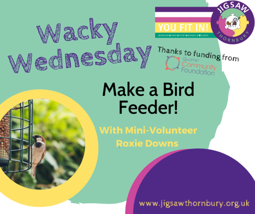 Virtual JIGSAW Wacky Wednesday – How to make a simple bird feeder