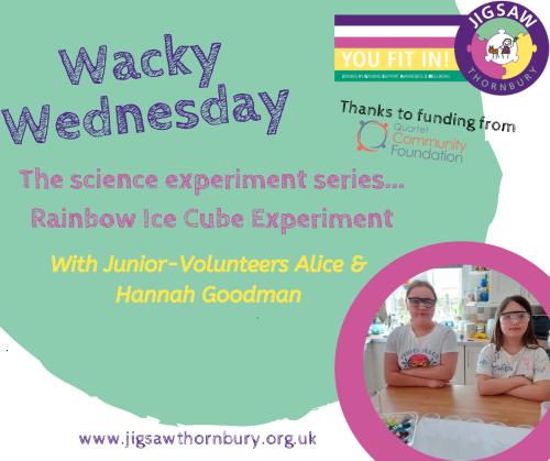 Virtual JIGSAW Wacky Wednesday – Rainbow Ice Cube Experiment
