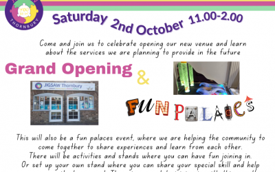 Join us for our Grand Opening & Fun Palaces Event – Saturday 2nd October